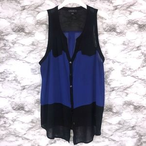 Forever 21 Blue & Black Sleeveless Blouse 2x